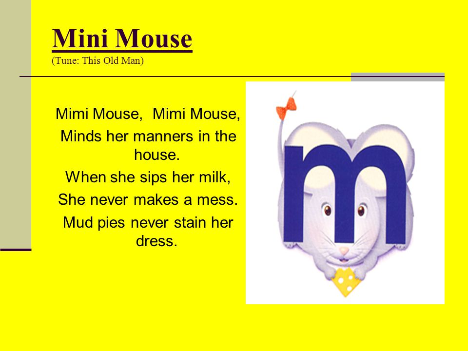Mini Mouse (Tune: This Old Man)