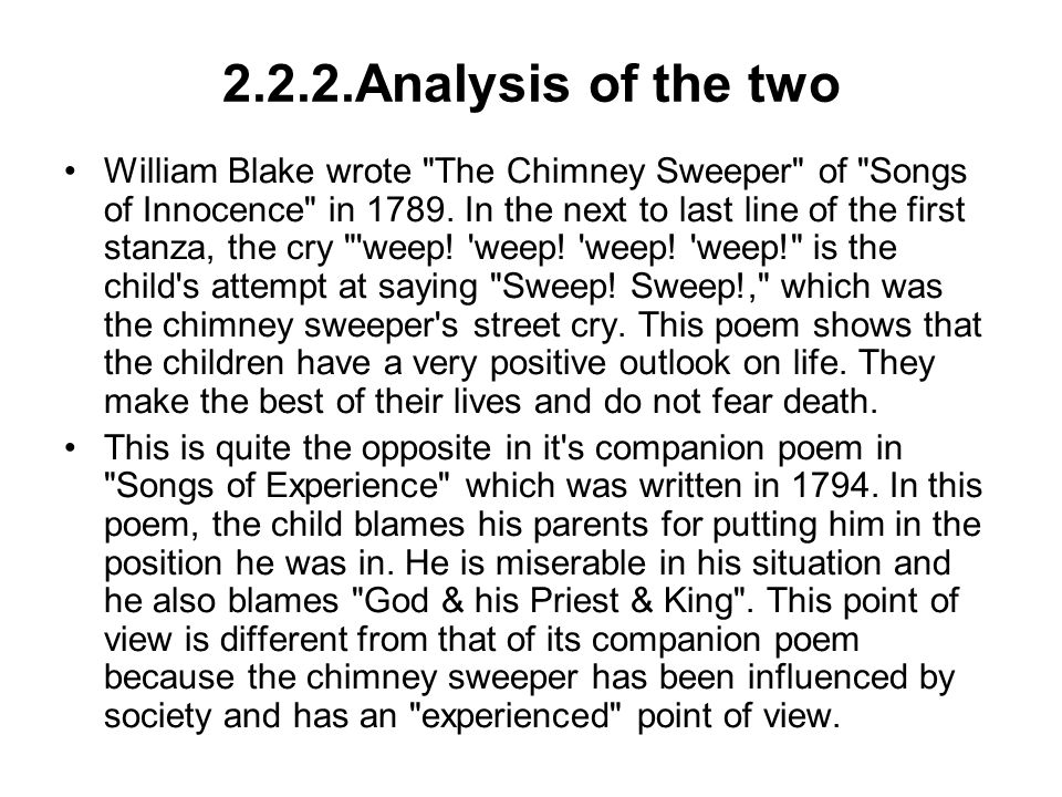 Chimney sweeper songs experience essay