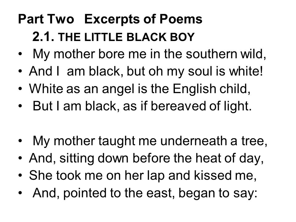 Part Two Excerpts of Poems