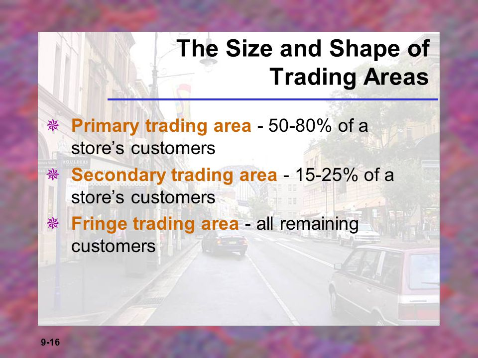 The Size and Shape of Trading Areas
