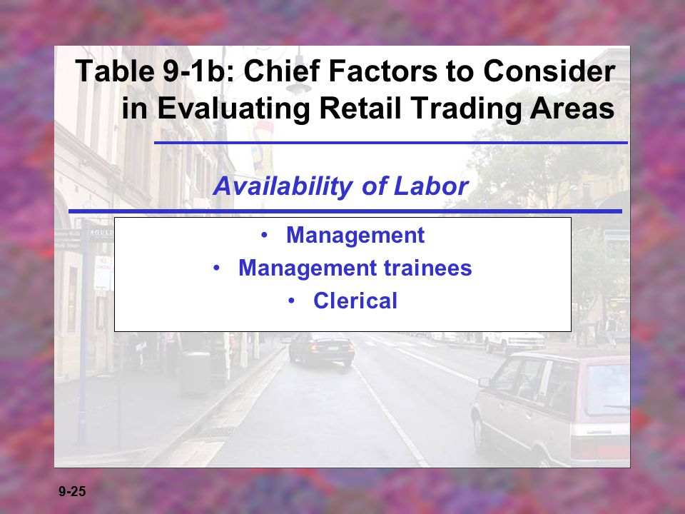 Table 9-1b: Chief Factors to Consider in Evaluating Retail Trading Areas