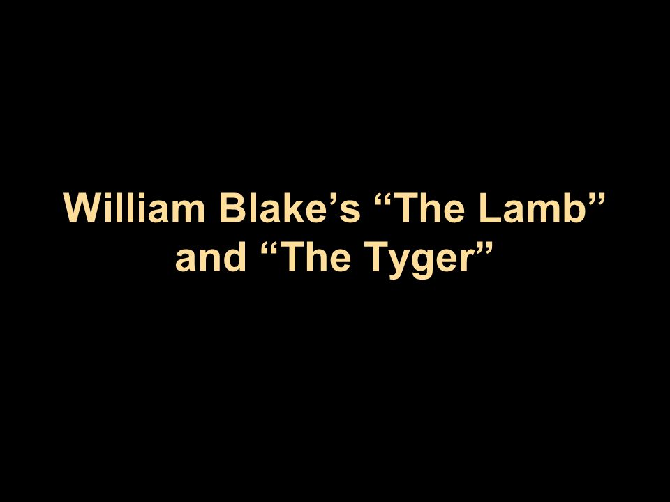 comparative study between lamb and tyger william blake