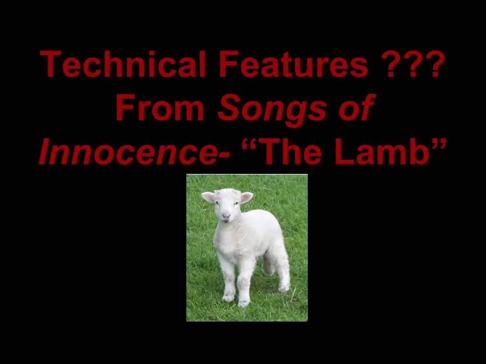 Technical Features From Songs of Innocence- The Lamb