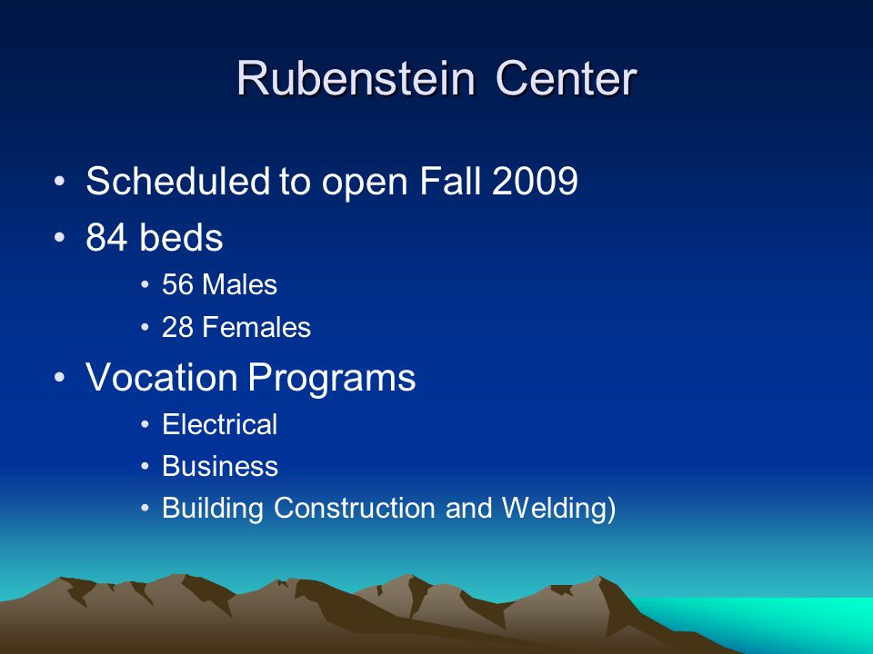Rubenstein Center Scheduled to open Fall 2009 84 beds