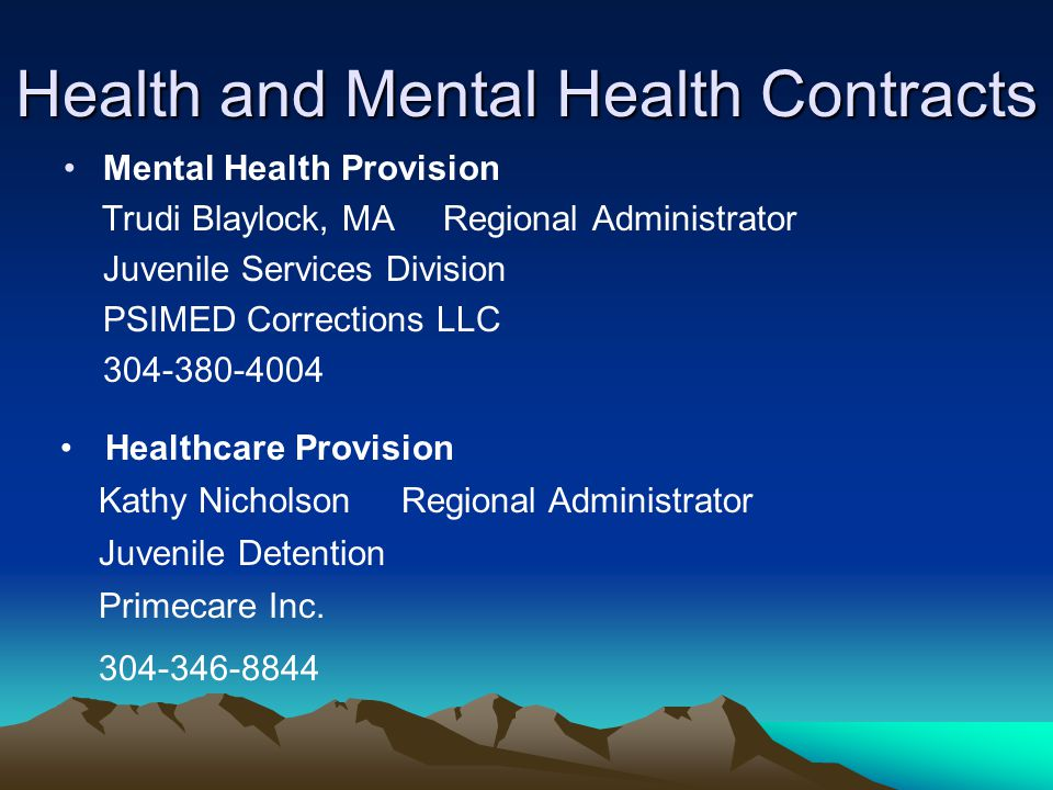 Health and Mental Health Contracts