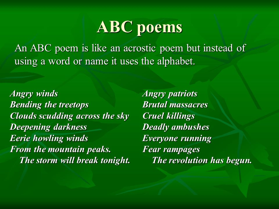 ABC poems An ABC poem is like an acrostic poem but instead of using a word or name it uses the alphabet.
