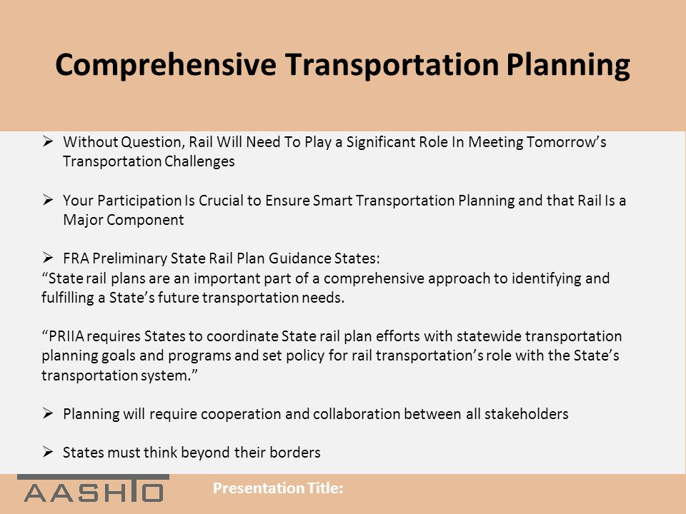 Comprehensive Transportation Planning