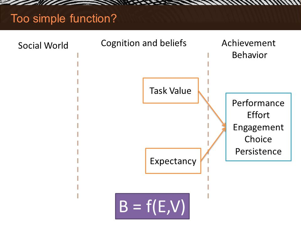 B = f(E,V) Too simple function Cognition and beliefs Achievement