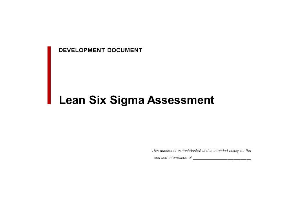Initial Lean Six Sigma Program assessment criteria