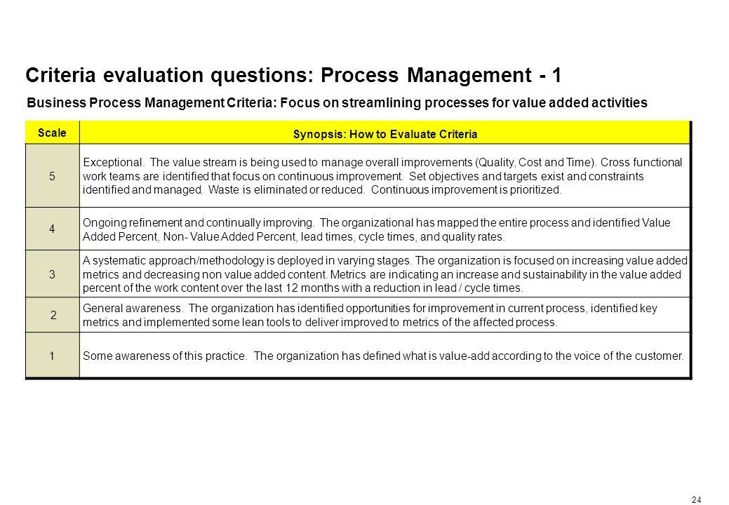 Criteria evaluation questions: Process Management - 2