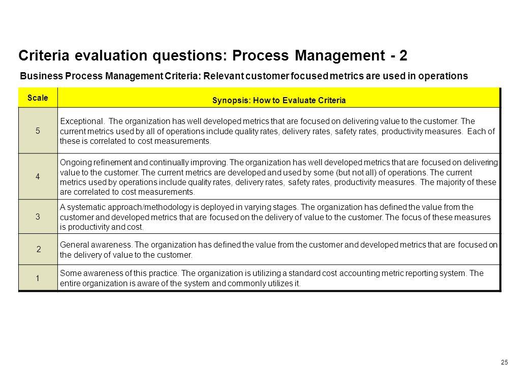 Criteria evaluation questions: Process Management - 3