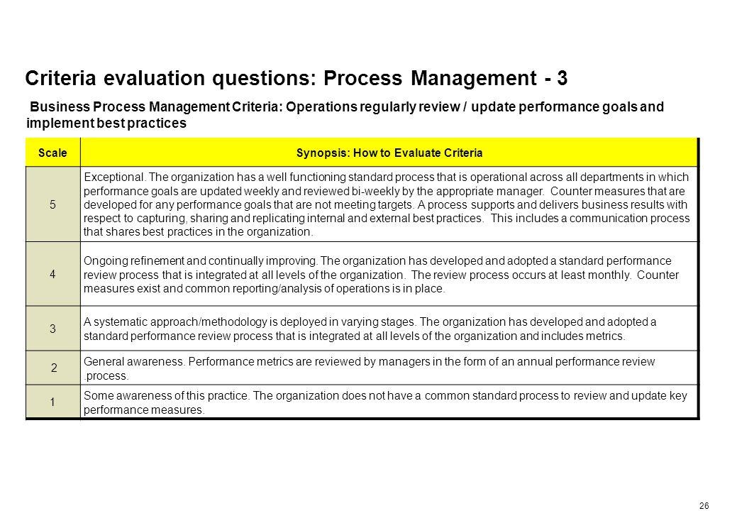 Criteria evaluation questions: Process Management - 4