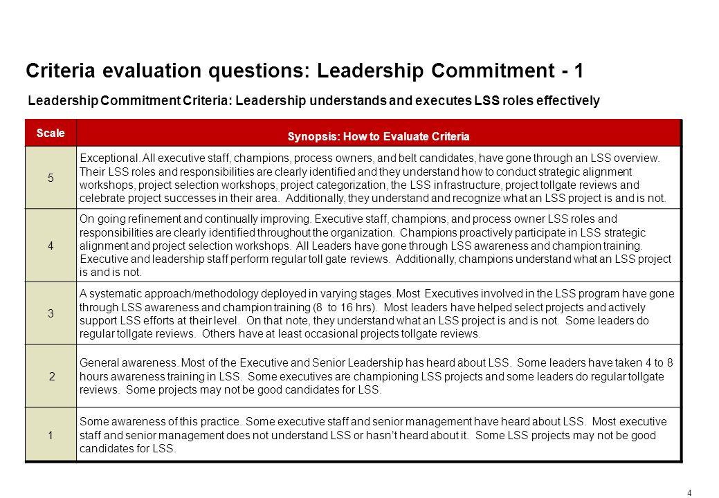 Criteria evaluation questions: Leadership Commitment - 2