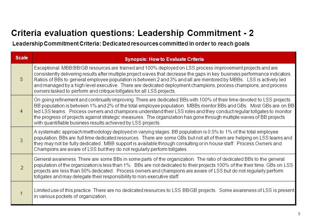 Criteria evaluation questions: Leadership Commitment - 3