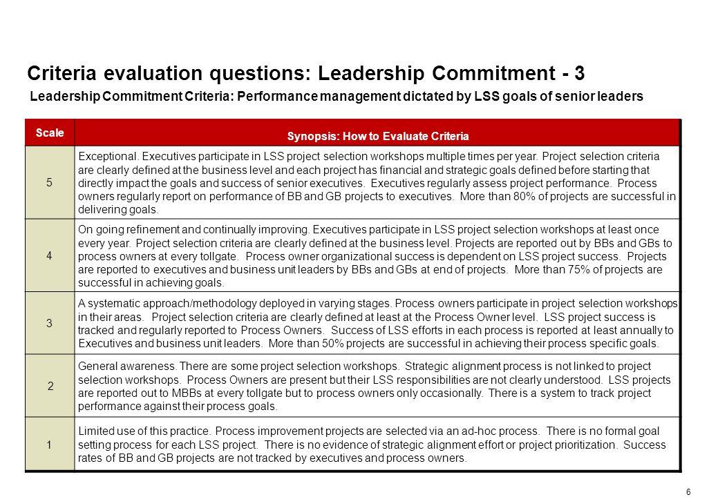 Criteria evaluation questions: Leadership Commitment - 4