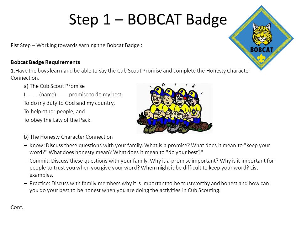 Step 1 – BOBCAT Badge Fist Step – Working towards earning the Bobcat Badge : Bobcat Badge Requirements.