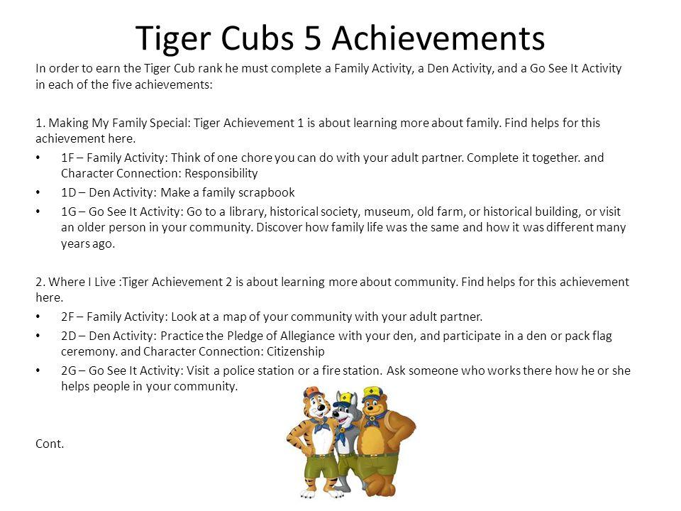Tiger Cubs 5 Achievements