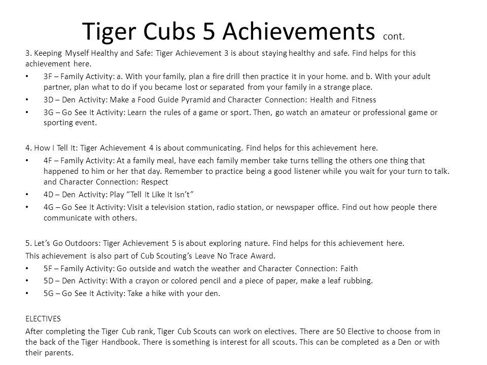 Tiger Cubs 5 Achievements cont.