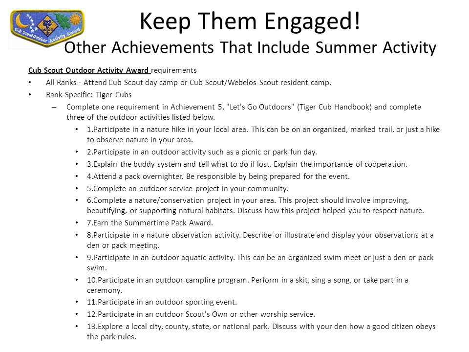 Keep Them Engaged! Other Achievements That Include Summer Activity