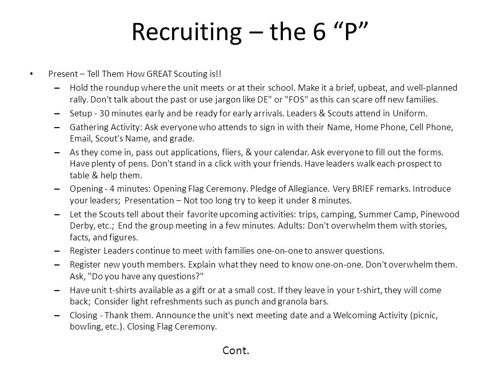Recruiting – the 6 P Cont.