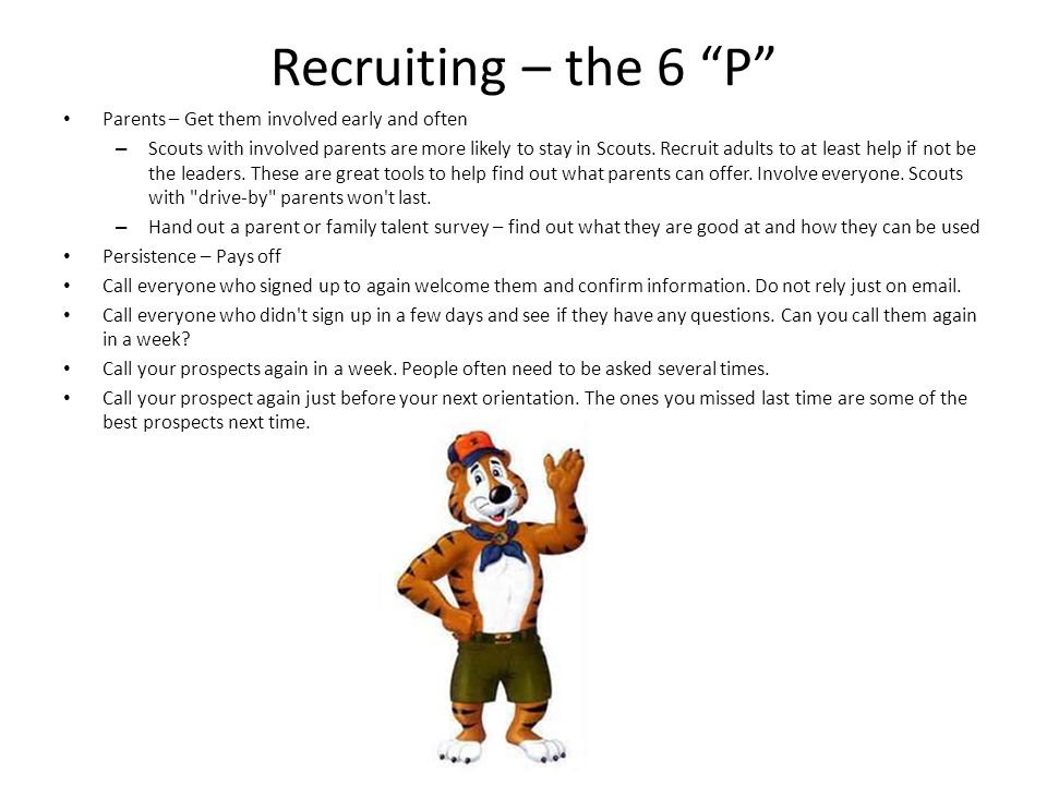 Recruiting – the 6 P Parents – Get them involved early and often