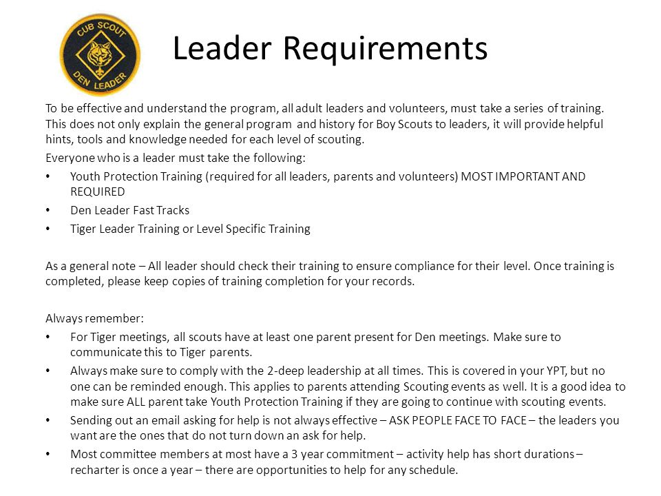 Leader Requirements