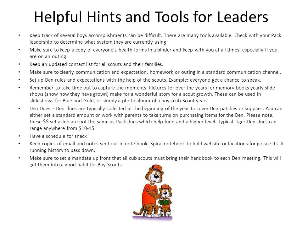 Helpful Hints and Tools for Leaders