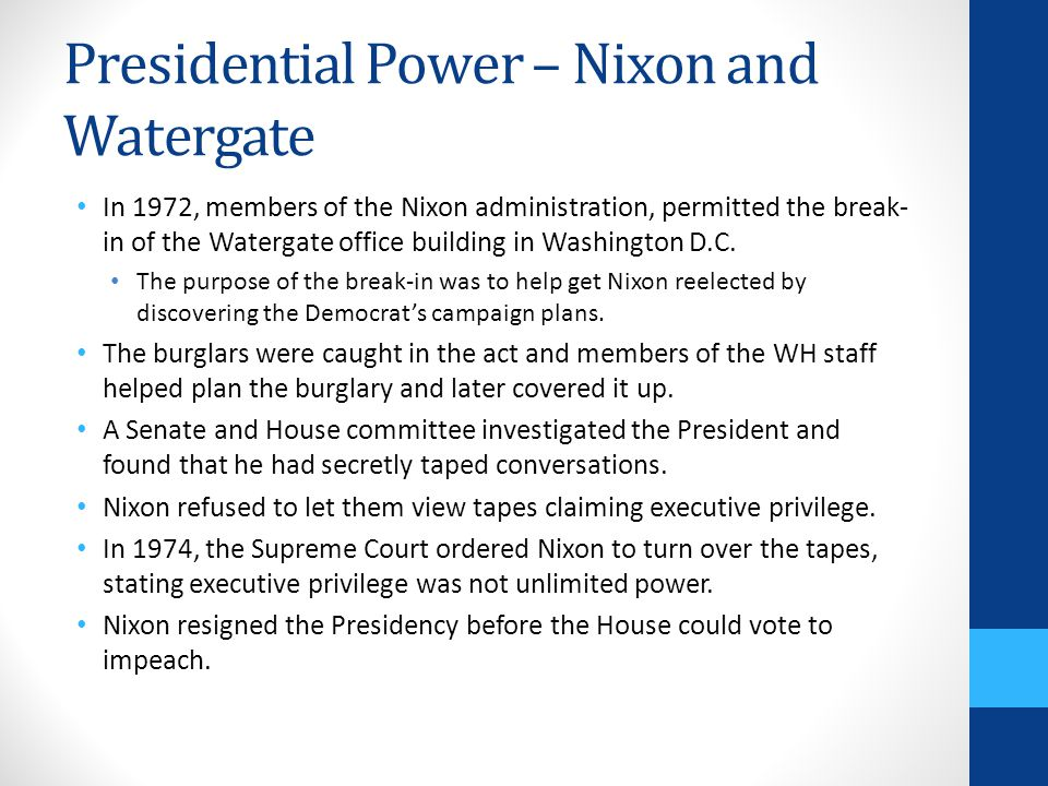 Presidential Power – Nixon and Watergate