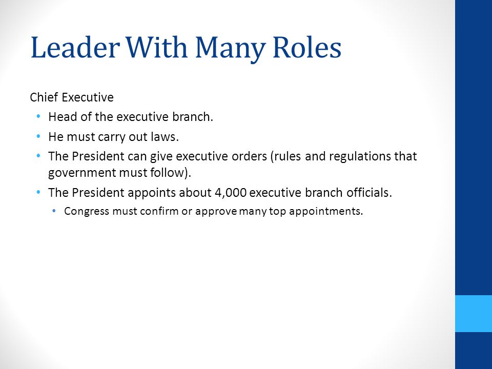 Leader With Many Roles Chief Executive Head of the executive branch.