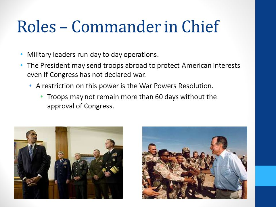 Roles – Commander in Chief
