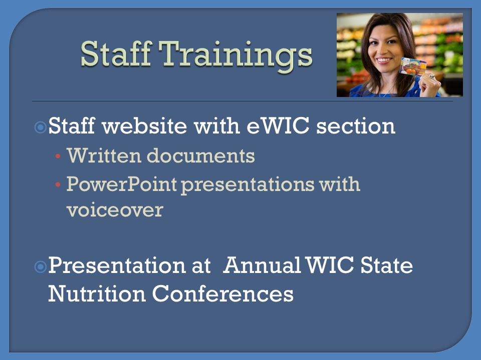 Staff Trainings Staff website with eWIC section
