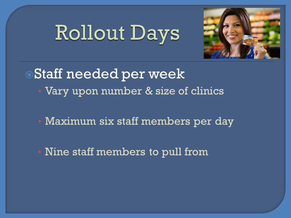 Rollout Days Staff needed per week Vary upon number & size of clinics