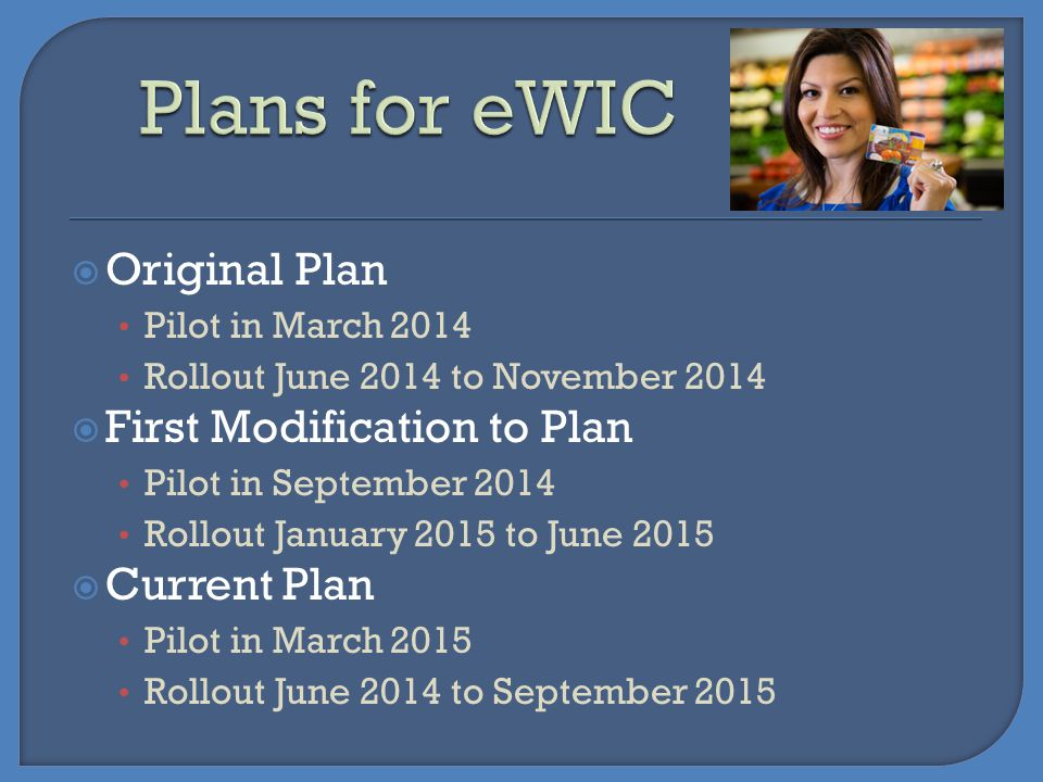Plans for eWIC Original Plan First Modification to Plan Current Plan