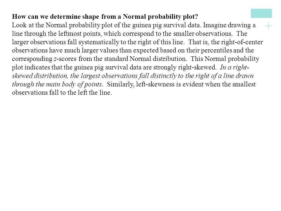 How can we determine shape from a Normal probability plot