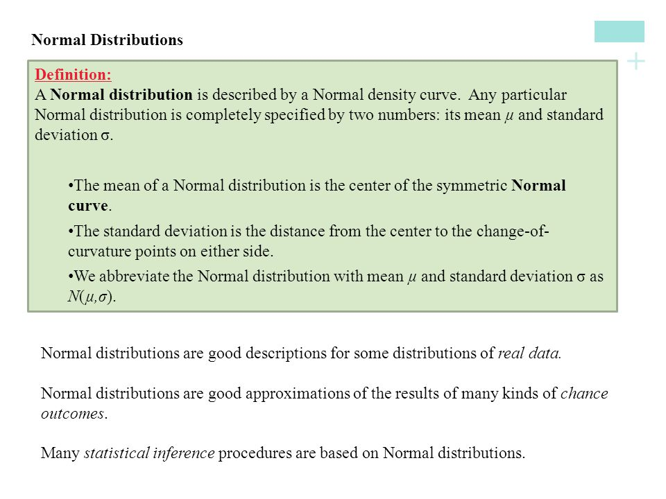 Normal Distributions Definition: