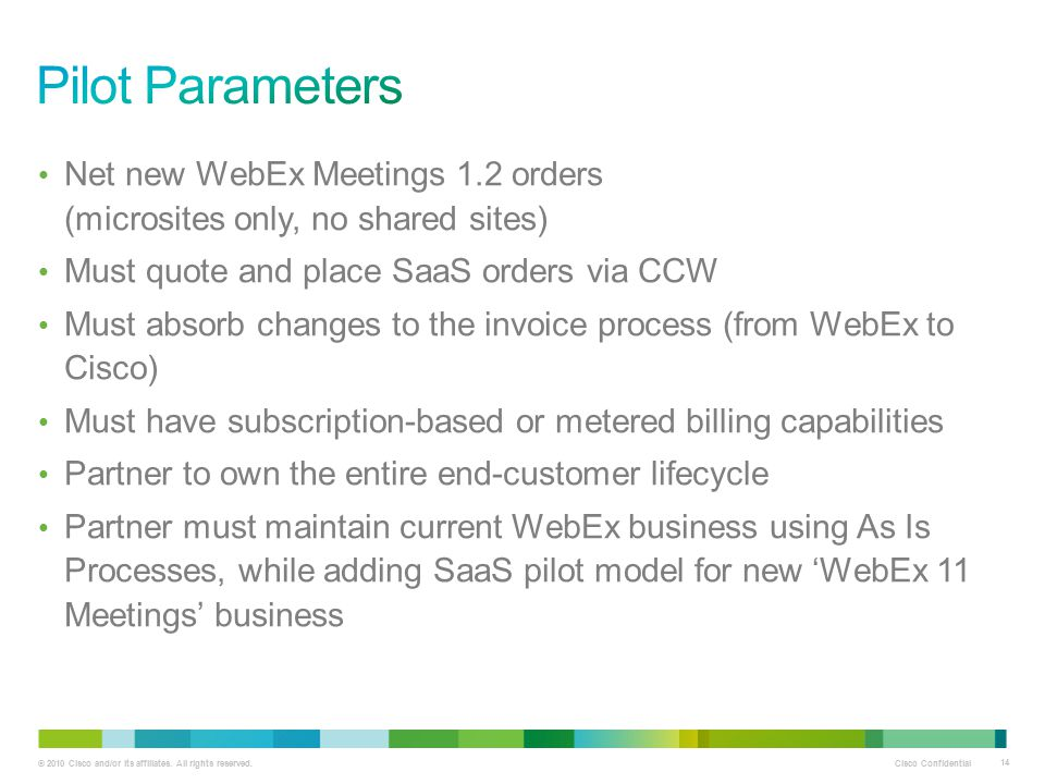 Pilot Parameters Net new WebEx Meetings 1.2 orders (microsites only, no shared sites) Must quote and place SaaS orders via CCW.