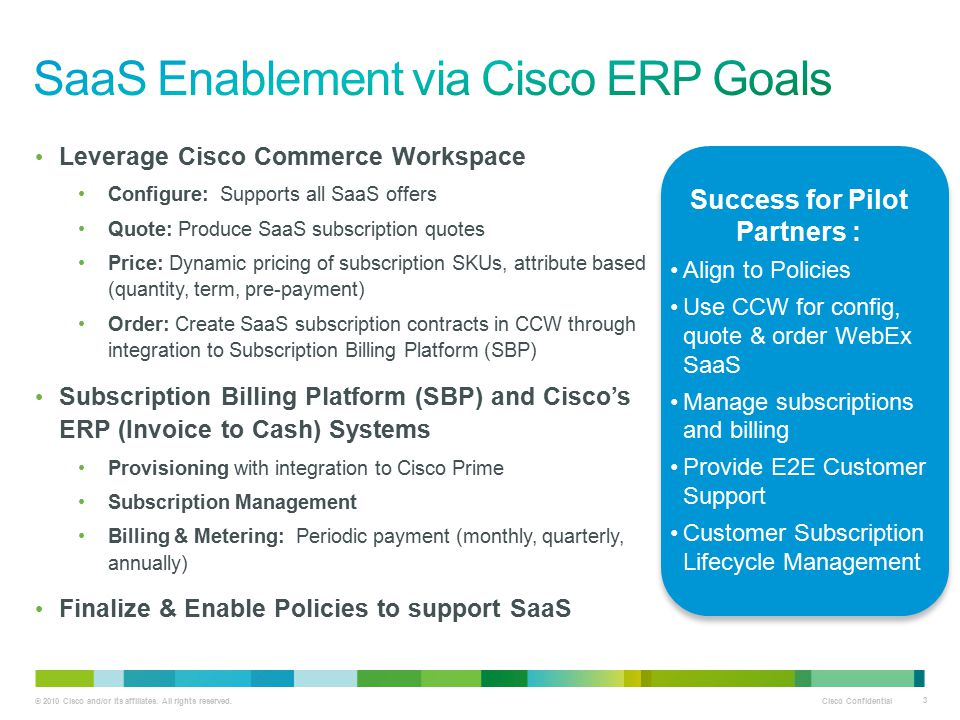 SaaS Enablement via Cisco ERP Goals