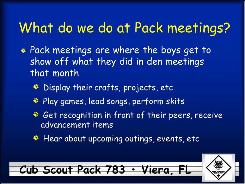 What do we do at Pack meetings