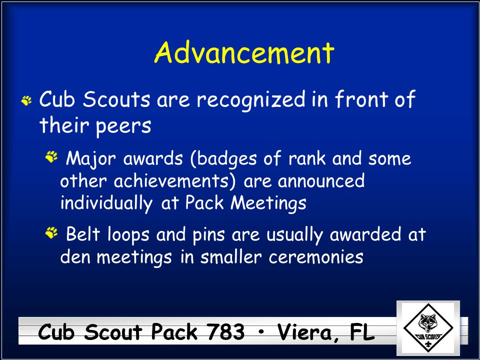 Advancement Cub Scouts are recognized in front of their peers
