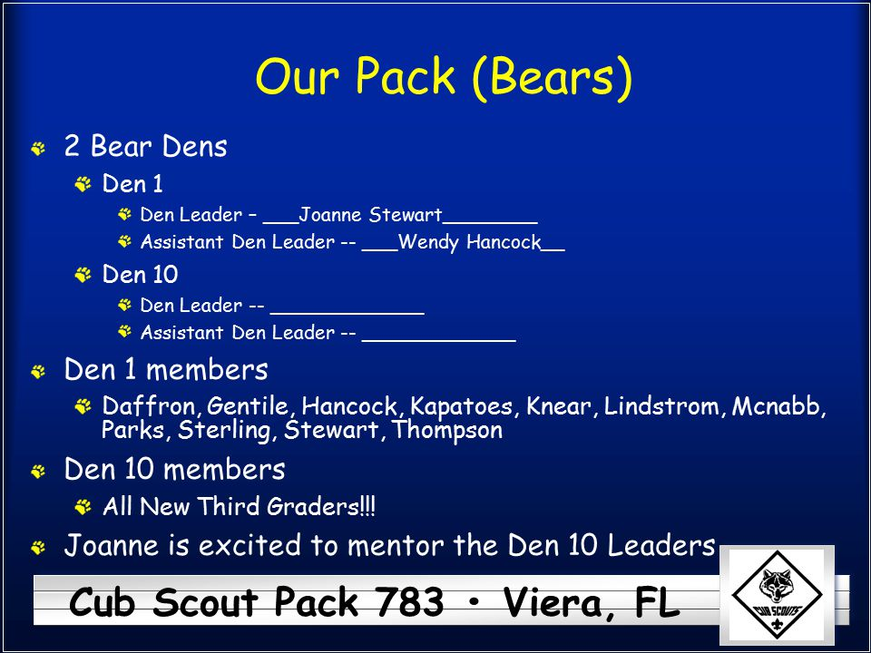 Our Pack (Bears) 2 Bear Dens Den 1 members Den 10 members