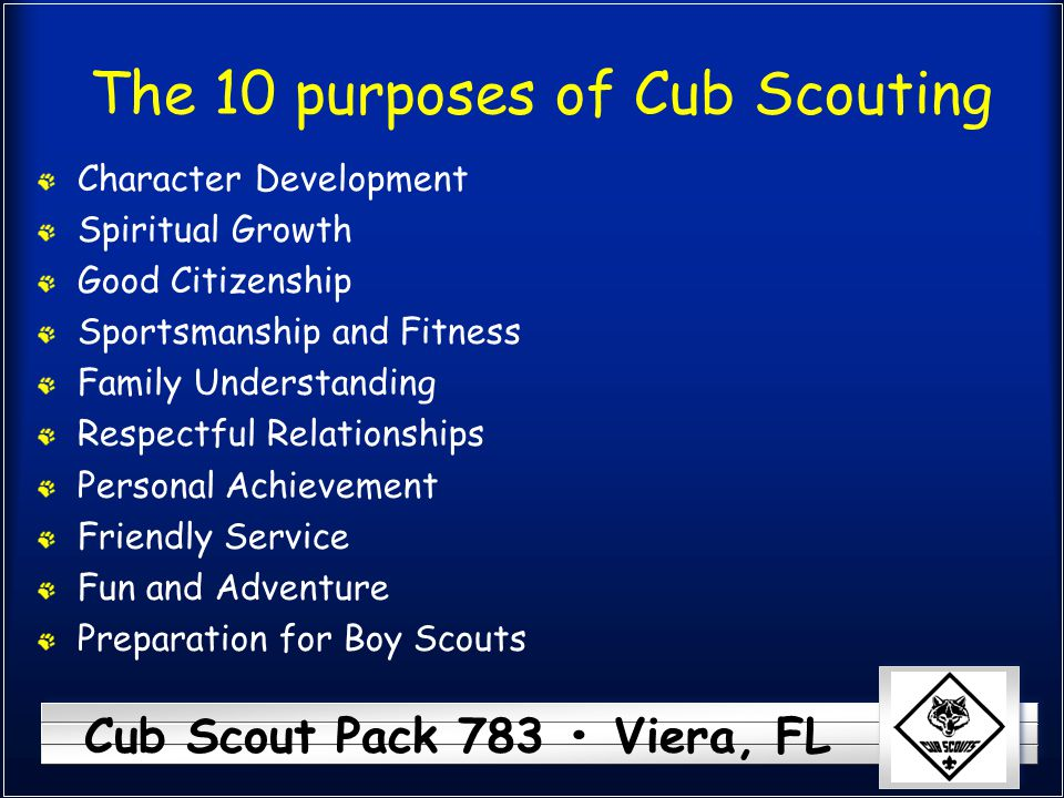 The 10 purposes of Cub Scouting