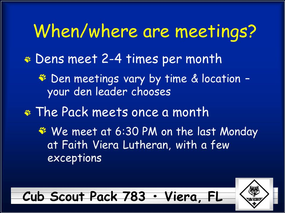 When/where are meetings