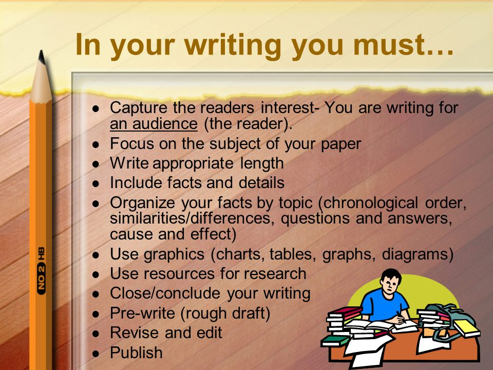 In your writing you must…