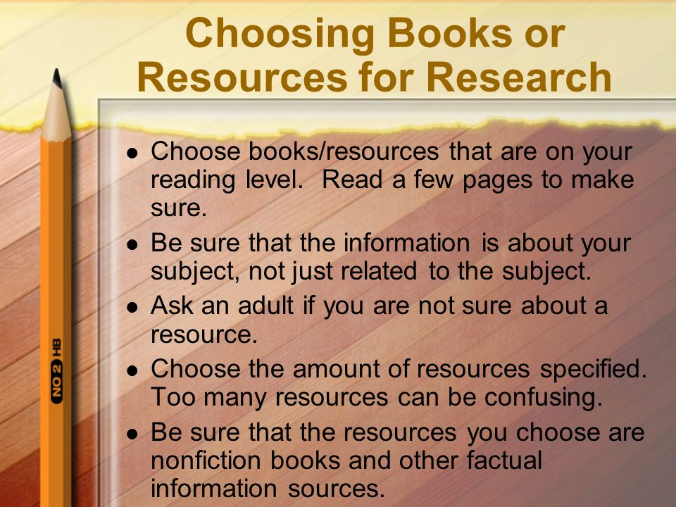Choosing Books or Resources for Research