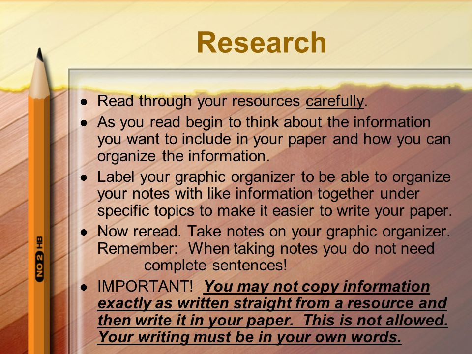 Research Read through your resources carefully.
