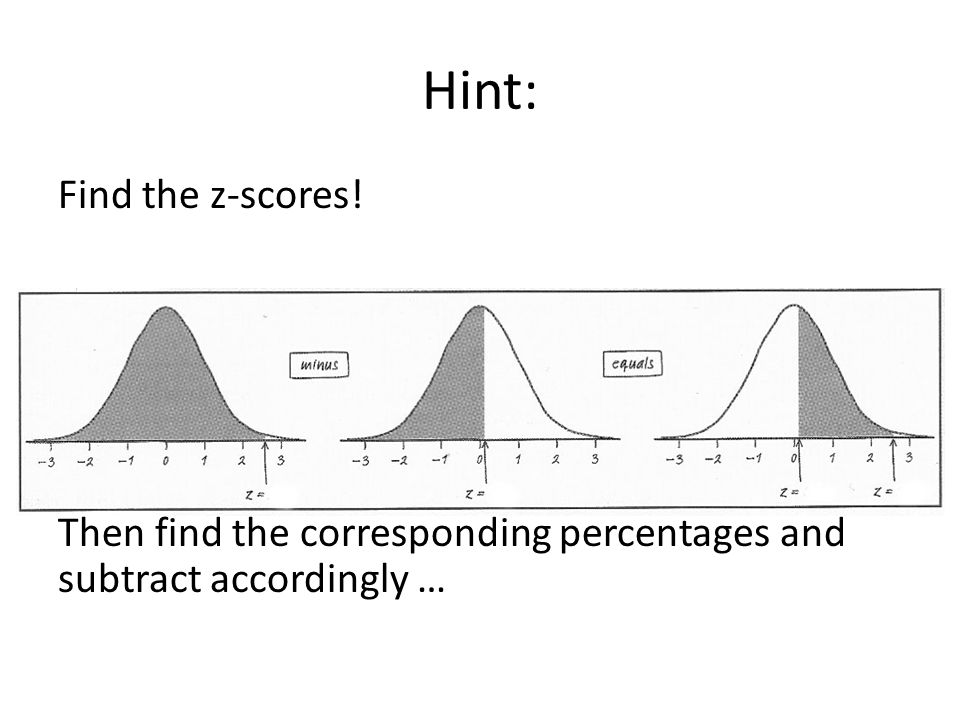 Hint: Find the z-scores! Then find the corresponding percentages and subtract accordingly …