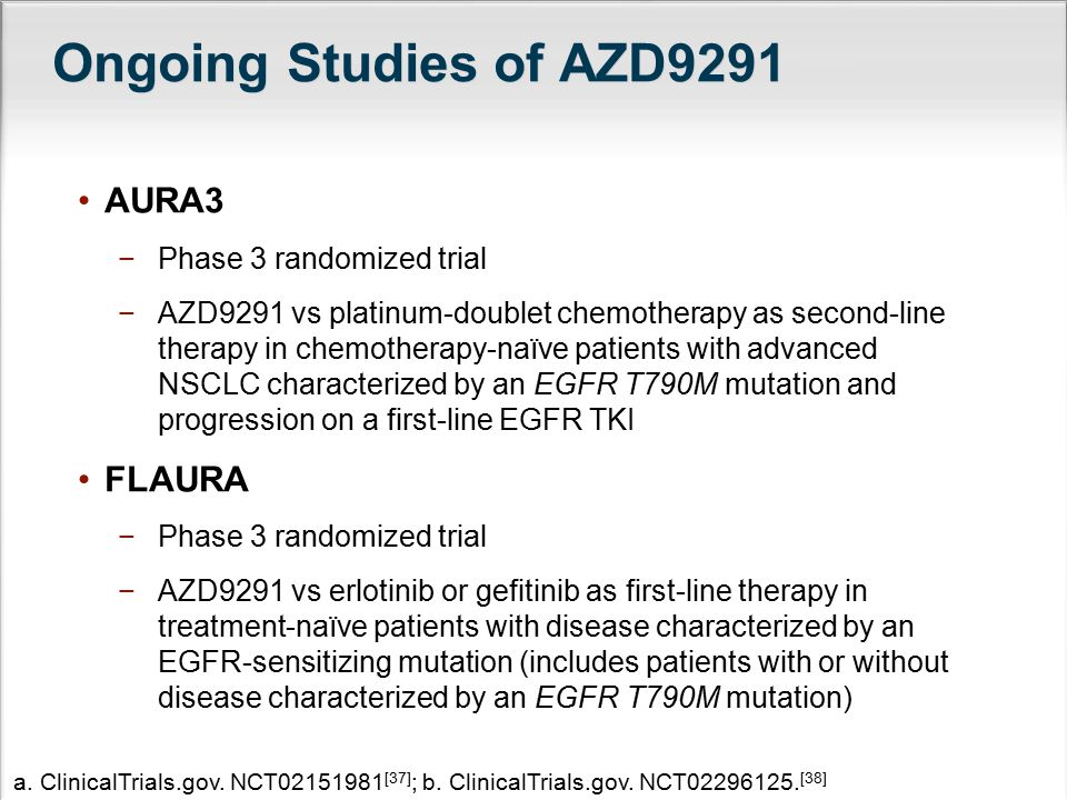 Ongoing Studies of AZD9291 AURA3 FLAURA Phase 3 randomized trial