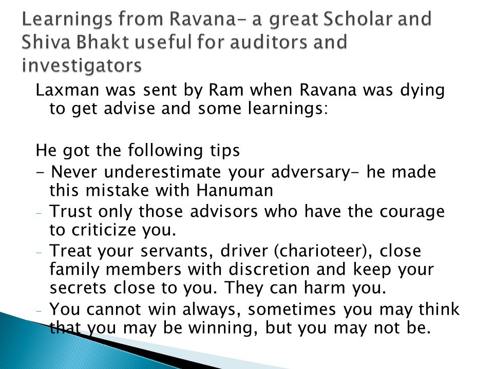 Learnings from Ravana- a great Scholar and Shiva Bhakt useful for auditors and investigators