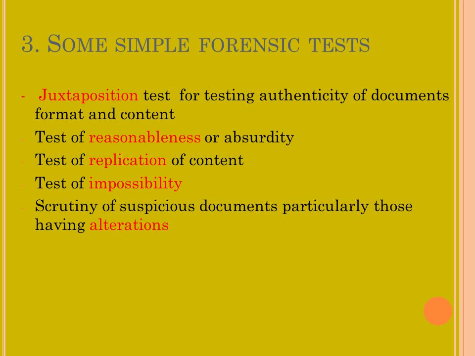 3. Some simple forensic tests