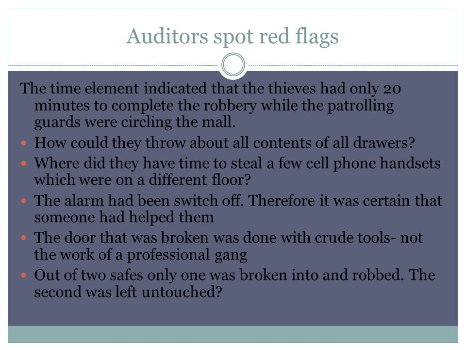 Auditors spot red flags